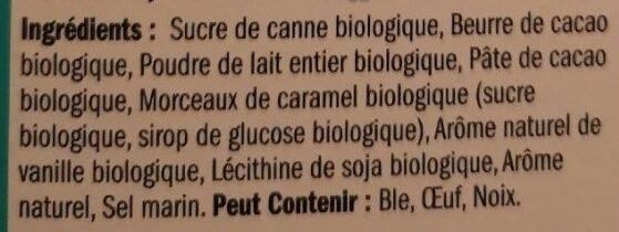 Caramel et sel marin chocolat au lait - Ingrédients - fr