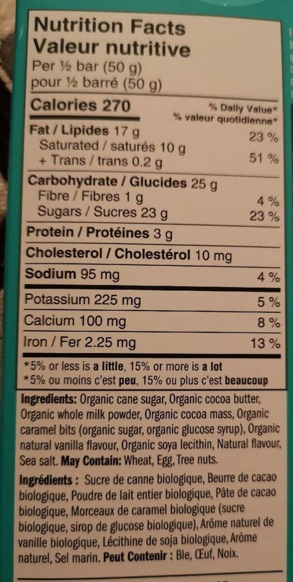 Caramel et sel marin chocolat au lait - Informations nutritionnelles - fr
