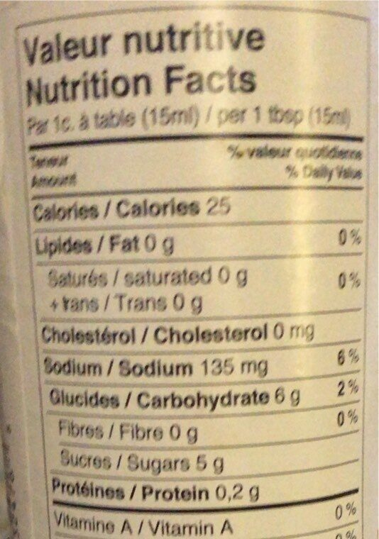 Sauce BBQ - Nutrition facts - fr