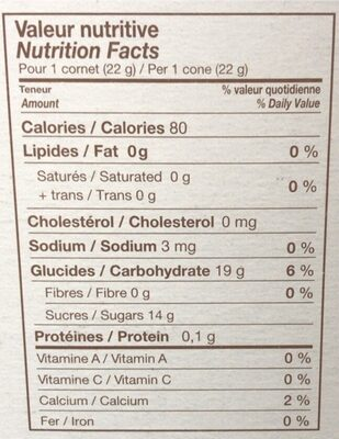 Cornets a l'erable - Informations nutritionnelles - fr