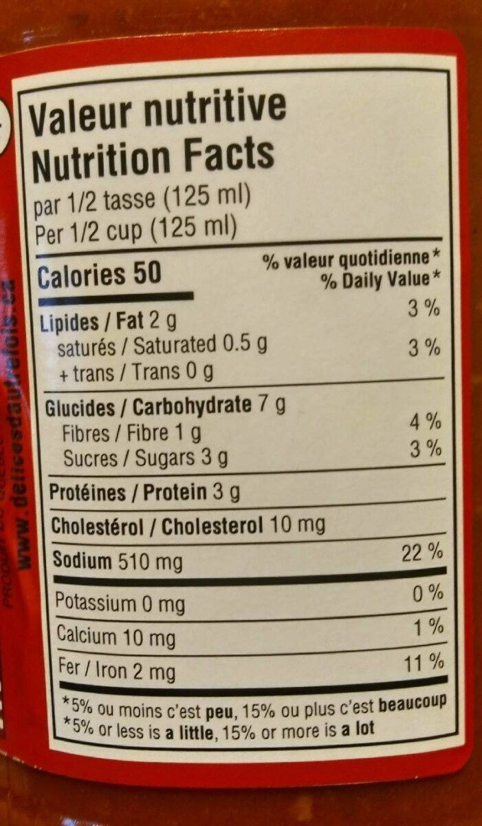 Sauce a la viande - Nutrition facts - en