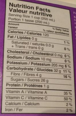 Organic Pomegranate & Blueberry 100% Juice & Purée Blend - Nutrition facts - en