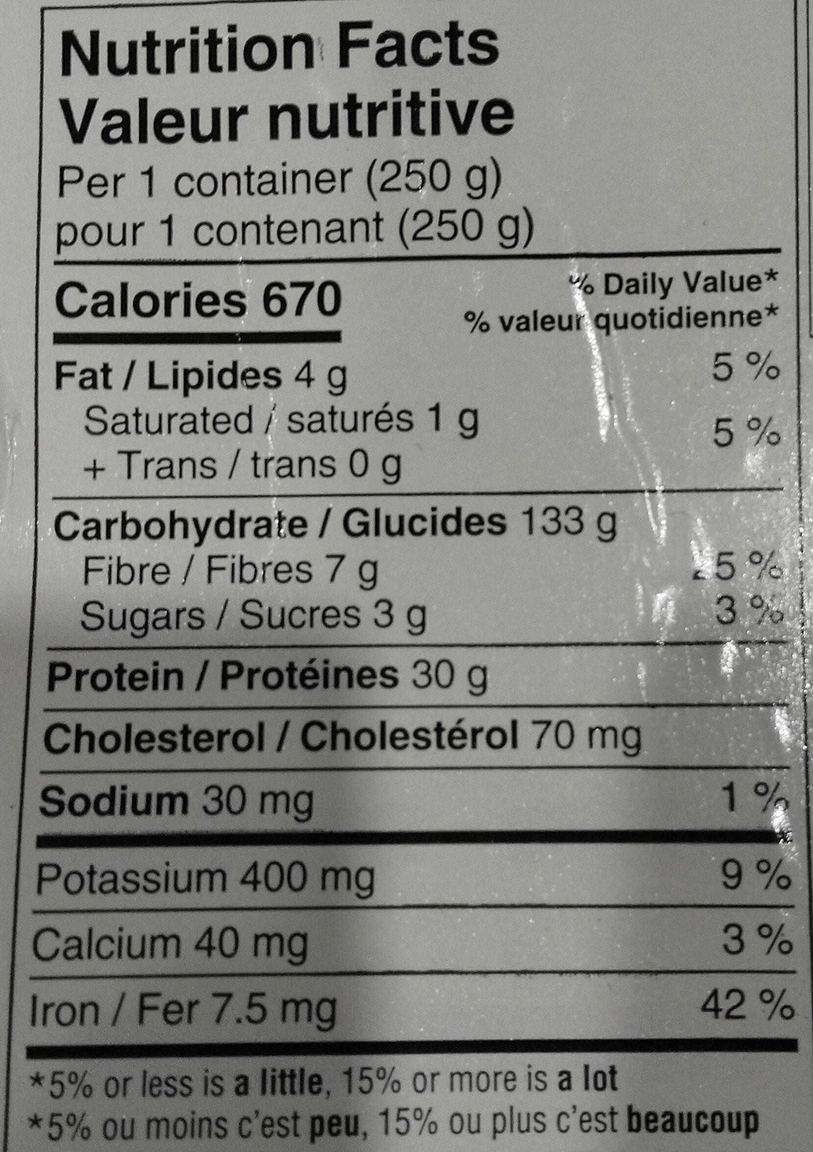 Pappardelle - Informations nutritionnelles - fr