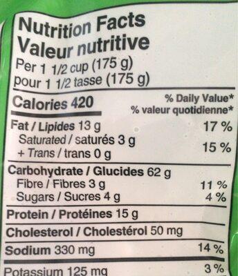 Tortellini boeuf - Nutrition facts