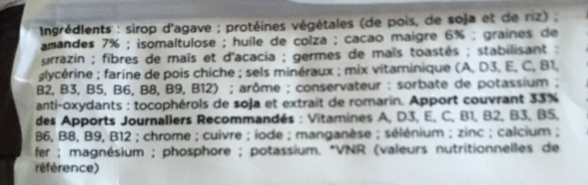 Barre - Ingrédients - fr