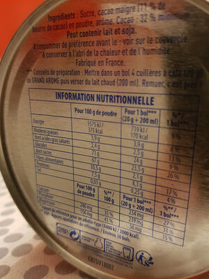 poulain grand arôme - Nutrition facts