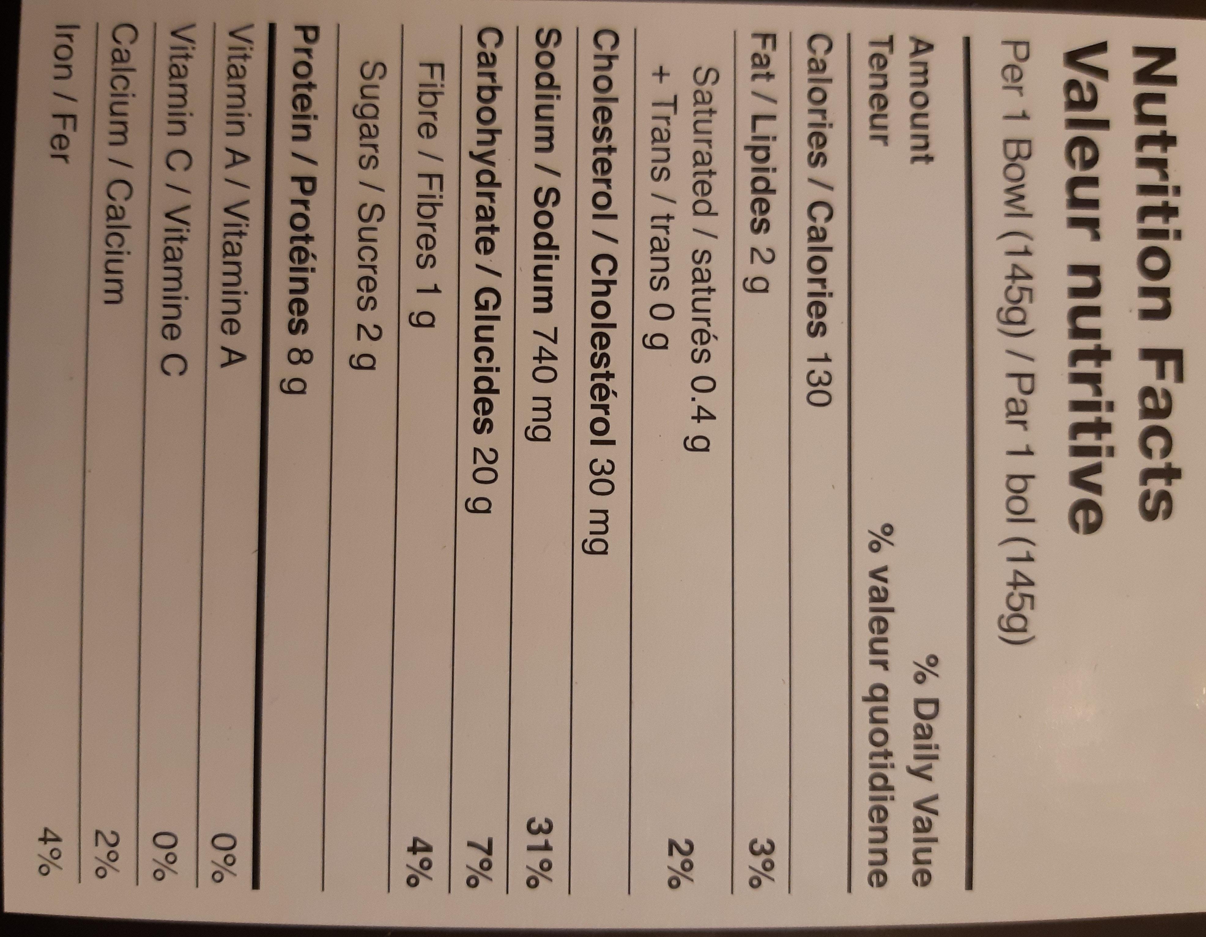 Soupe wonton aux crevettes - Nutrition facts