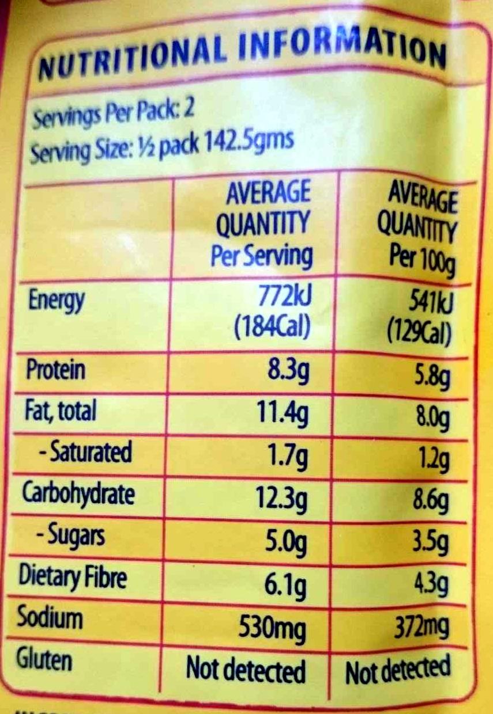 Indian jaipur vegetables & paneer cheese simmered with spices & cashews, indian jaipur vegetables - Nutrition facts - en
