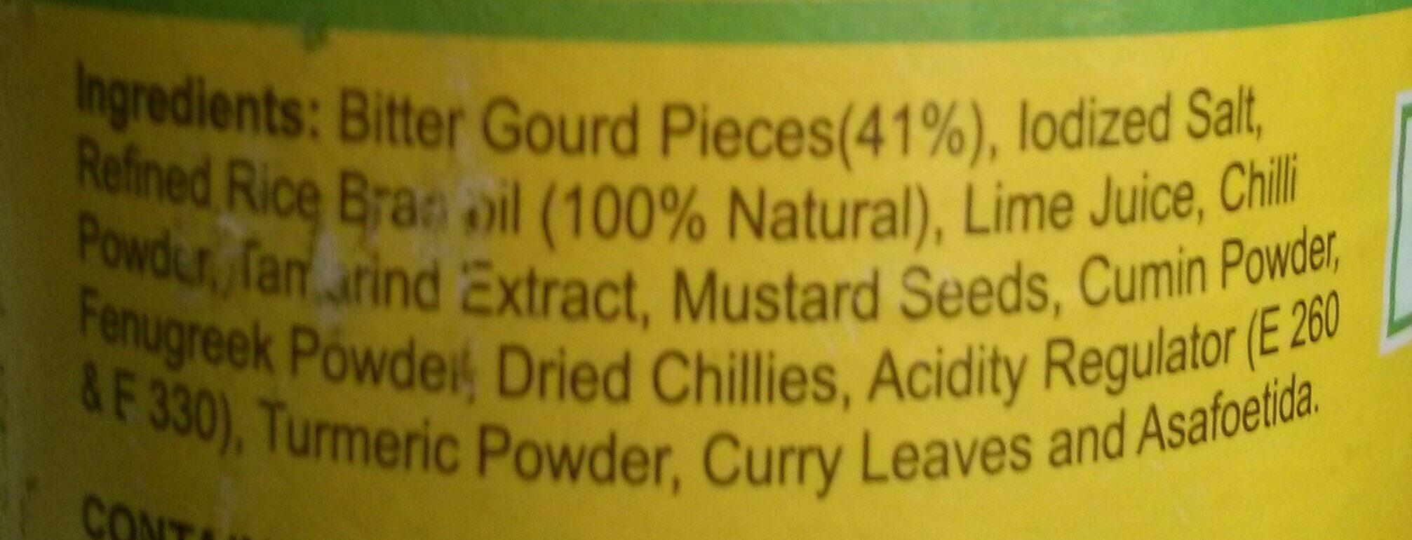 Bitter Gourd (Karela) Pickle in oil (without garlic) - Ingredients - en