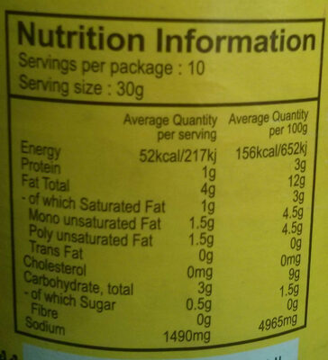 Bitter Gourd (Karela) Pickle in oil (without garlic) - Nutrition facts - en