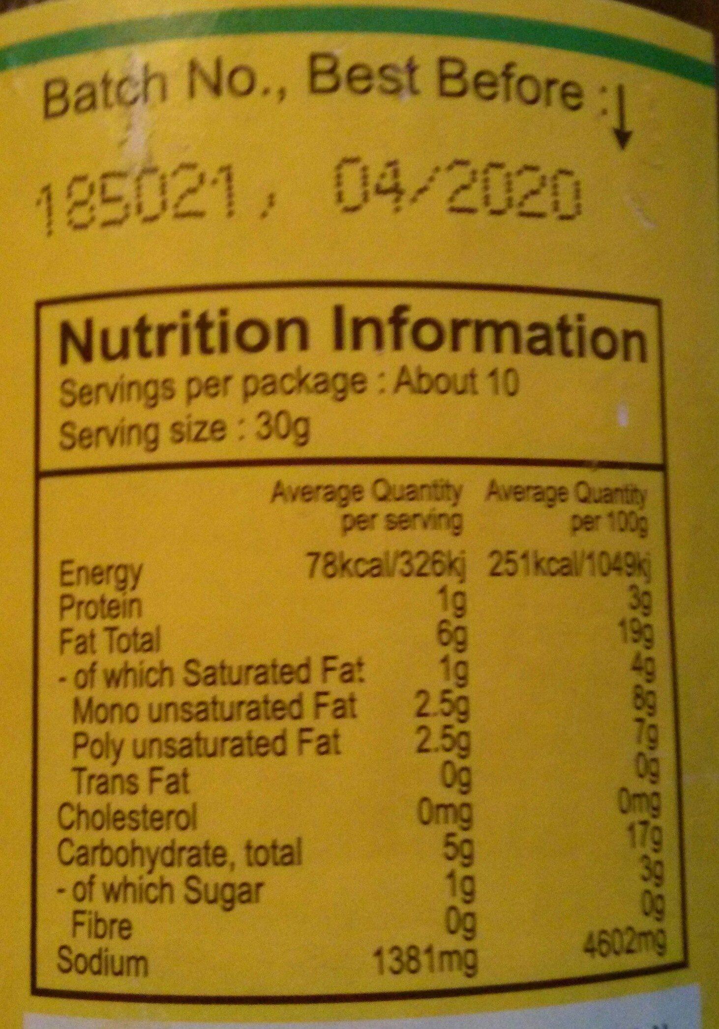 Gongura Onion Pickle - Nutrition facts - en