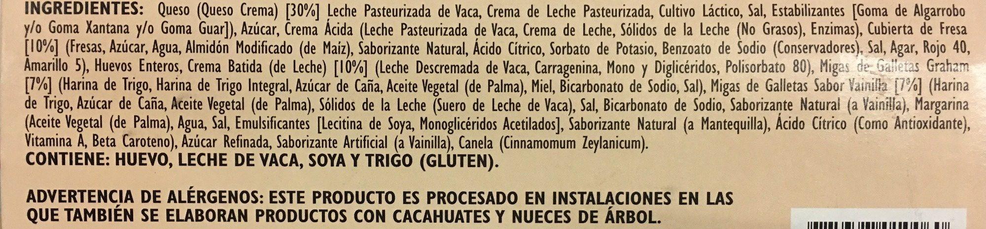 Pastel de Queso Original con cubierta de fresa - Ingredients