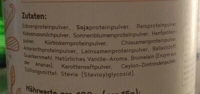 Vegan Protein (Vanille) - Inhaltsstoffe