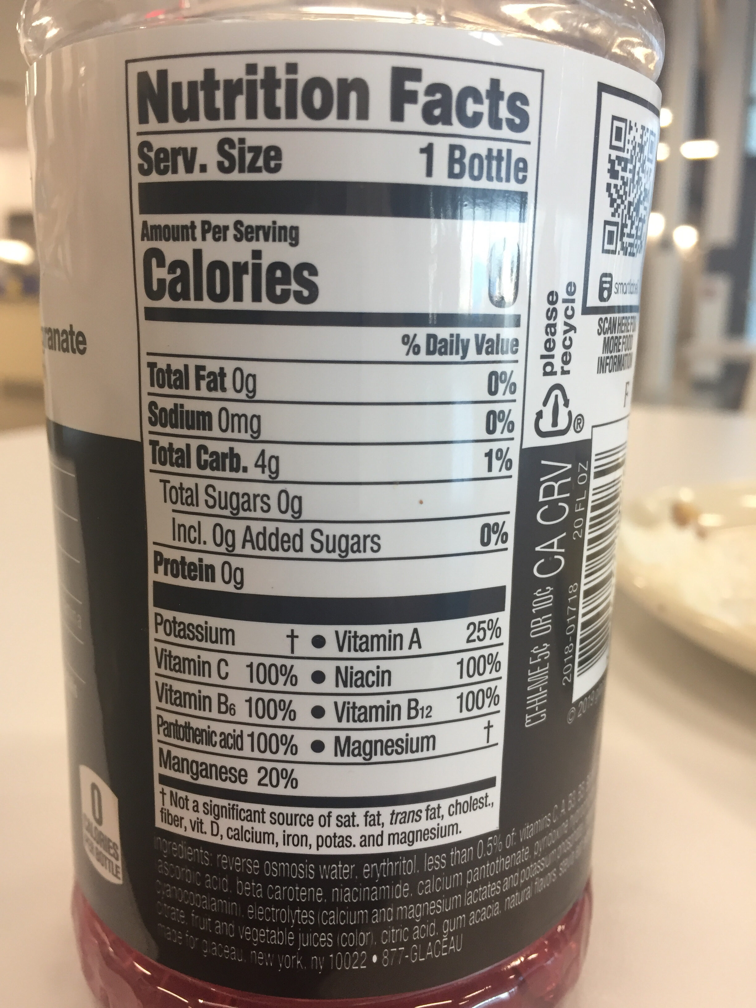 Vitaminwater - Nutrition facts