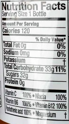 vitamin water tropical citrus - Nutrition facts