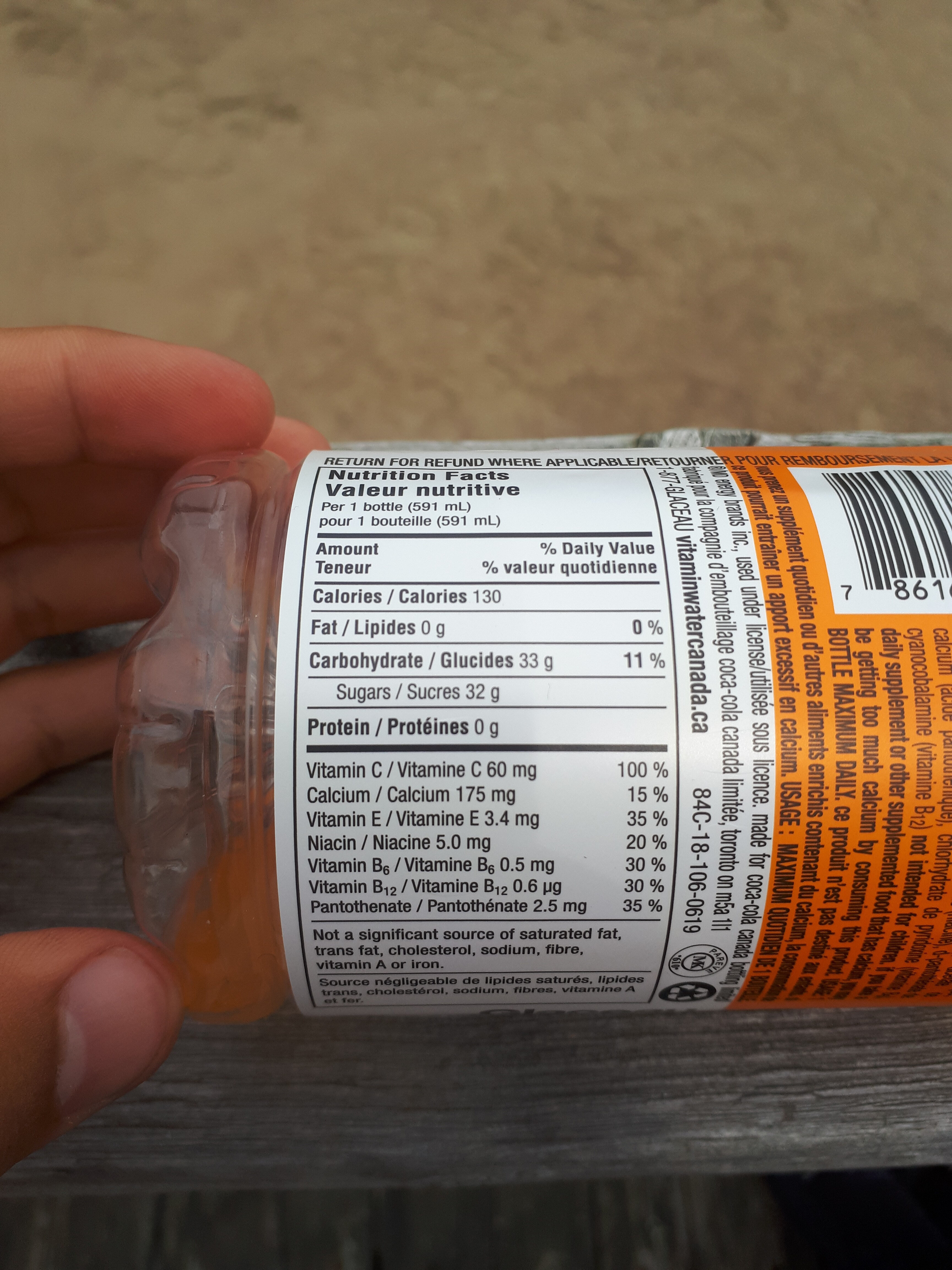 Vitaminwater - Nutrition facts - fr