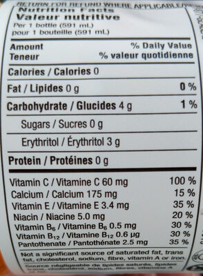vitamin water - Informations nutritionnelles - fr