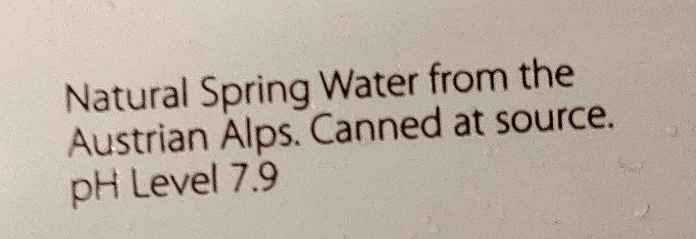 Water Natural Spring Water - Ingrédients - en
