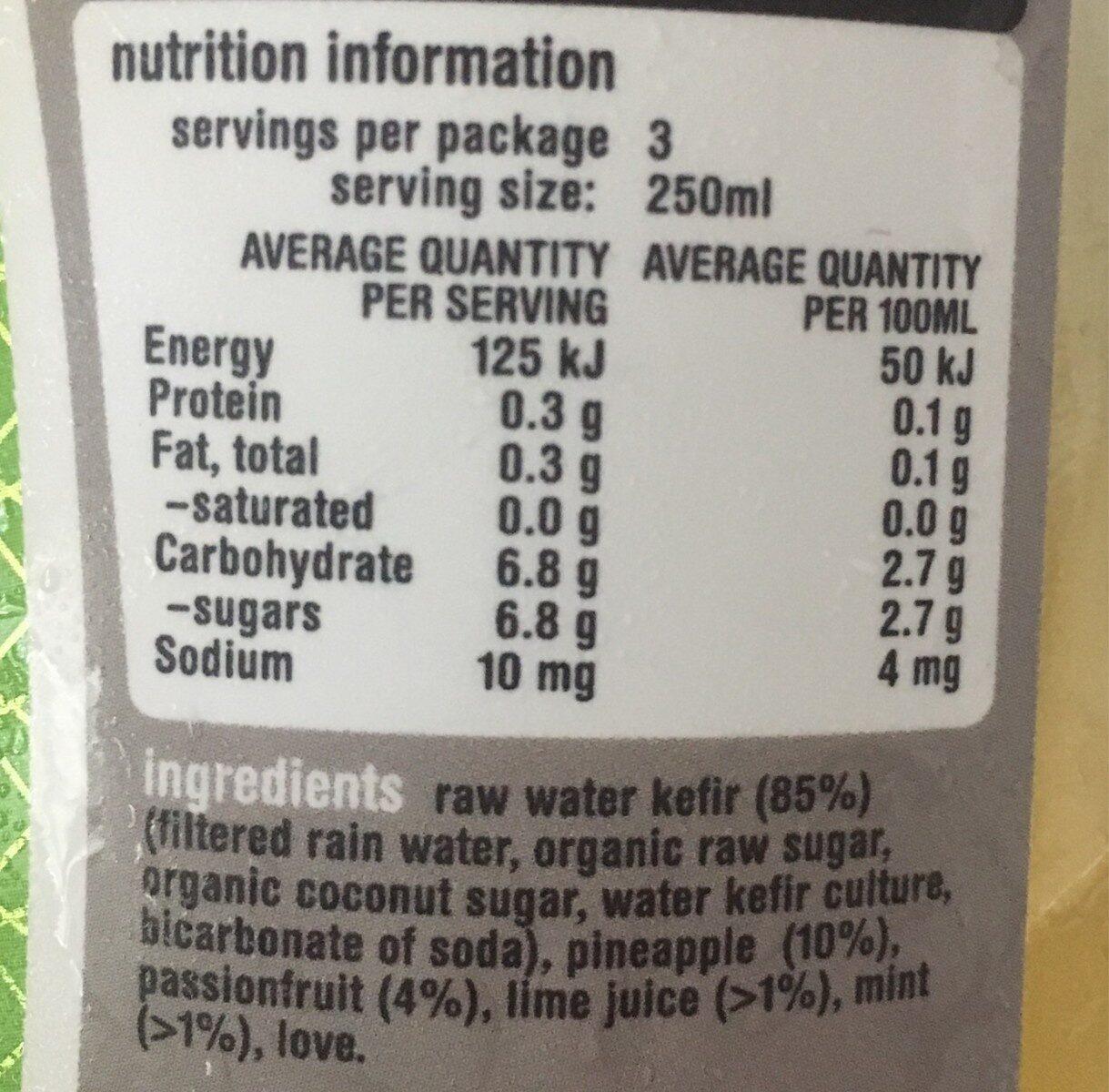 Water kefir - Nutrition facts - en