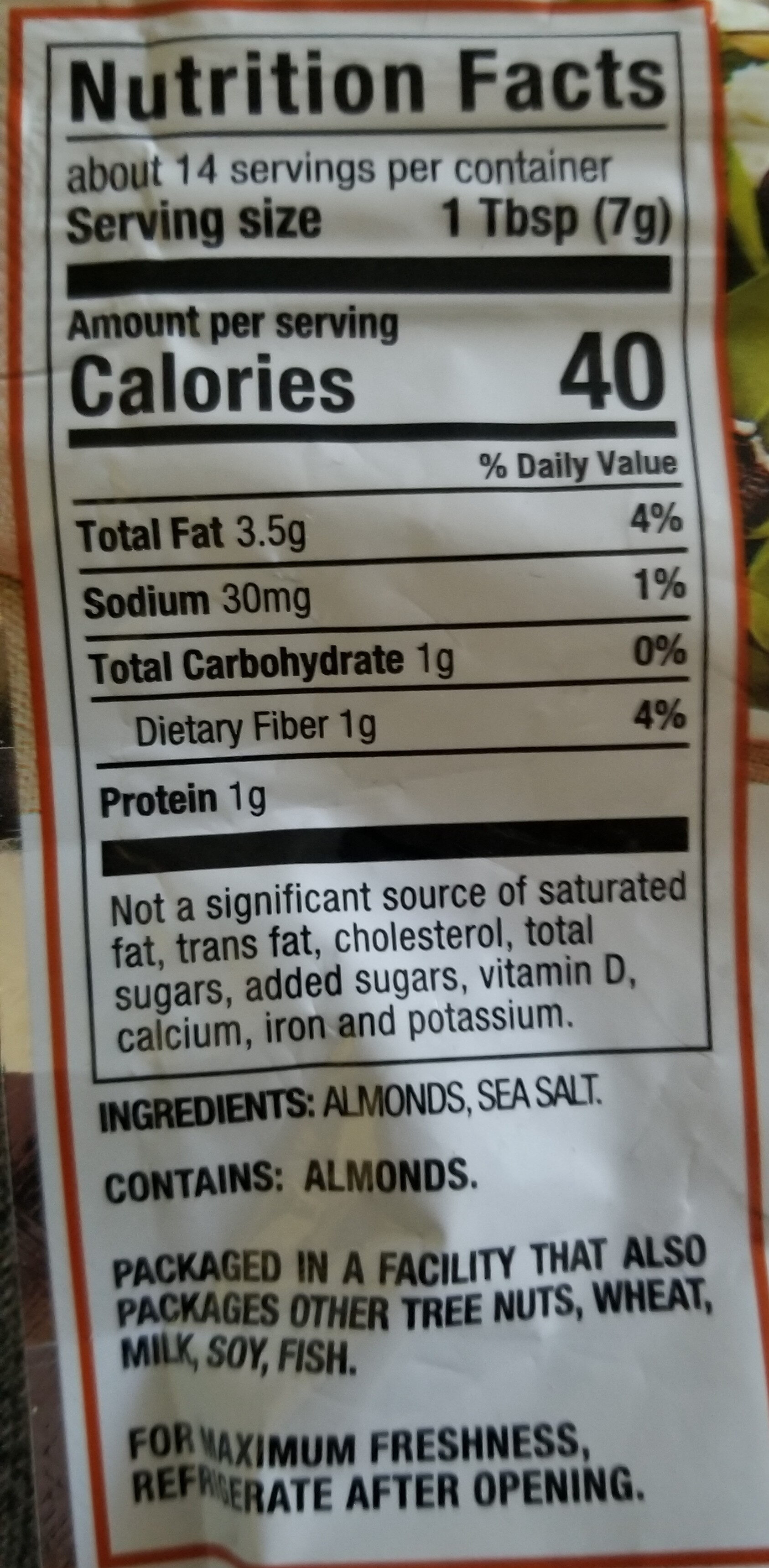 Oven Roasted Sliced Almonds - Nutrition facts