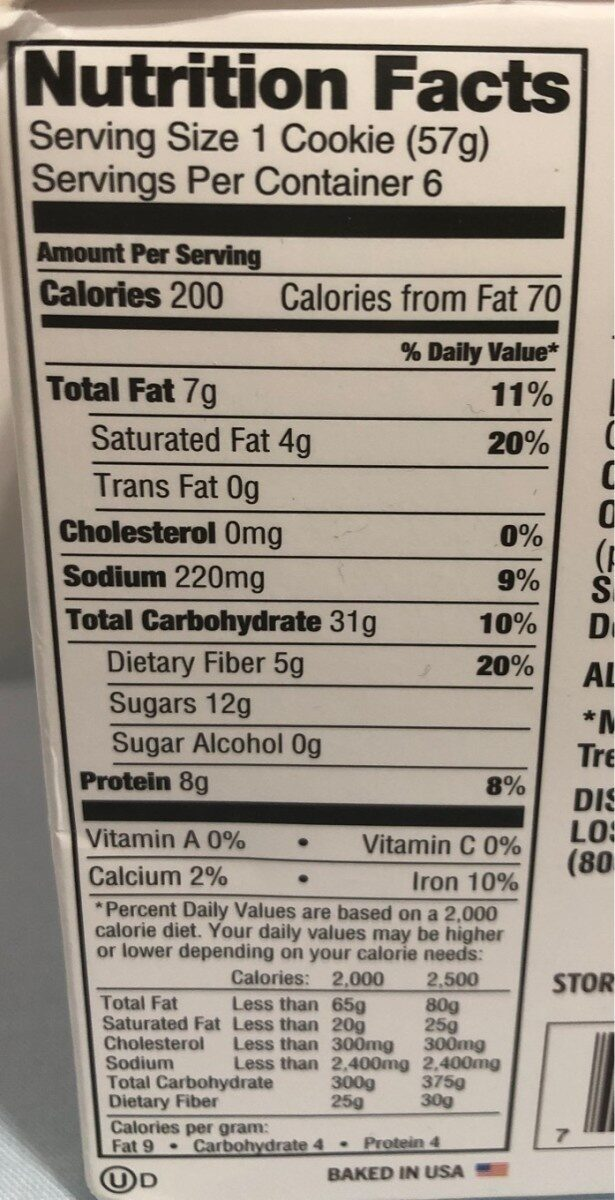 The complete cookie - Nutrition facts - es