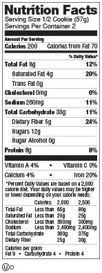 Chocolate chip baked nutrition cookie, chocolate chip - Ingredients - en