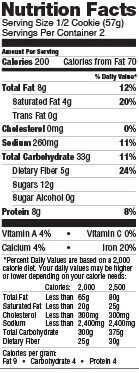 Chocolate chip baked nutrition cookie, chocolate chip - Nutrition facts - en