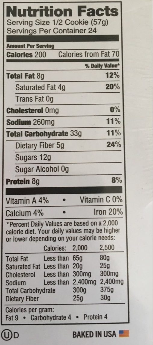 The Complete Cookie - Nutrition facts