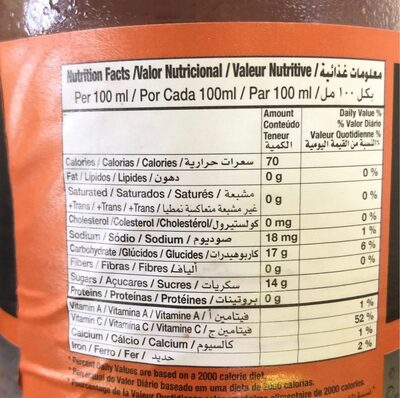 X-tra, mango drink - Nutrition facts - en