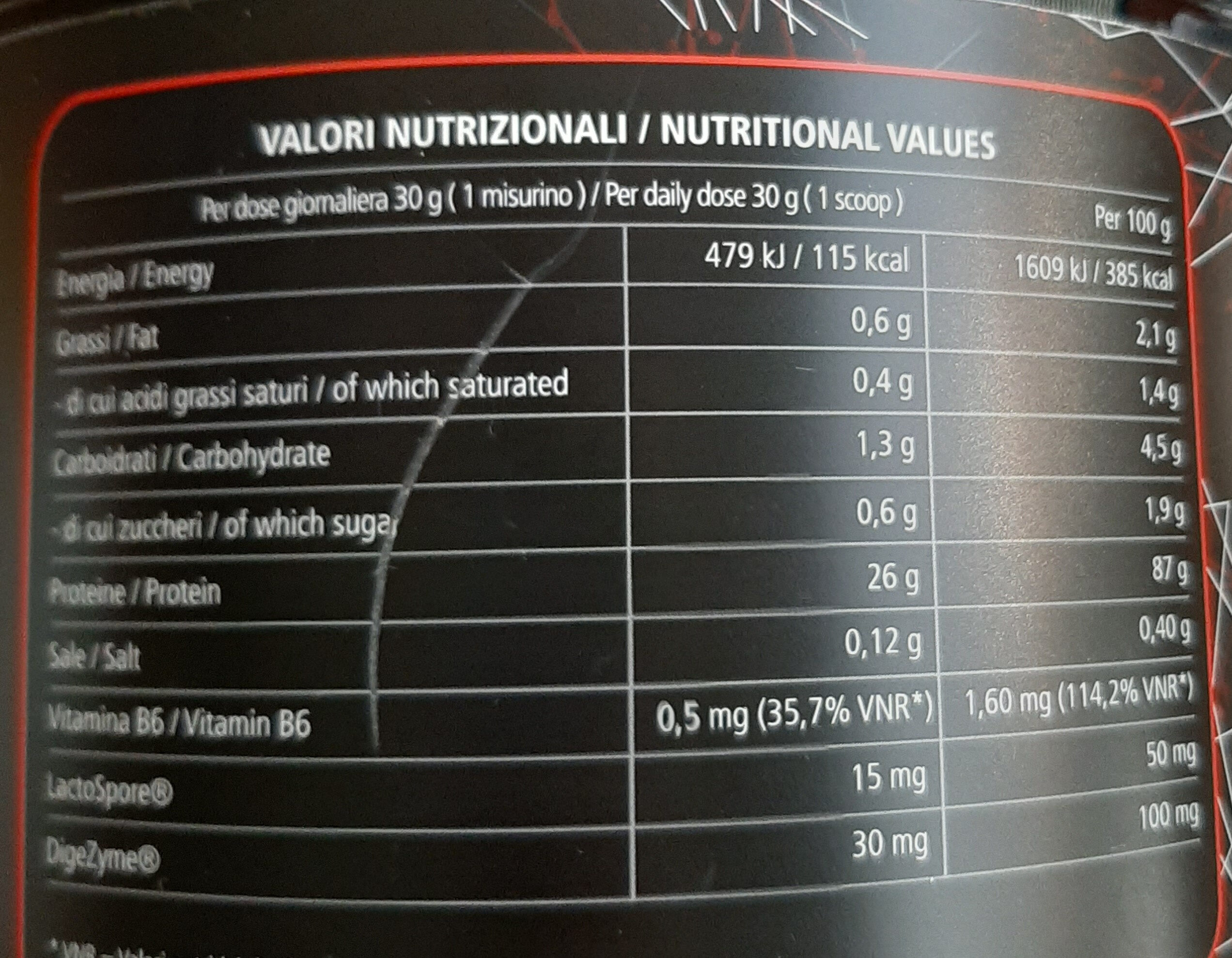 Iso pure professional - Informations nutritionnelles - it