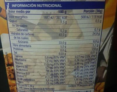 Trigo inflado con miel - Informations nutritionnelles - es