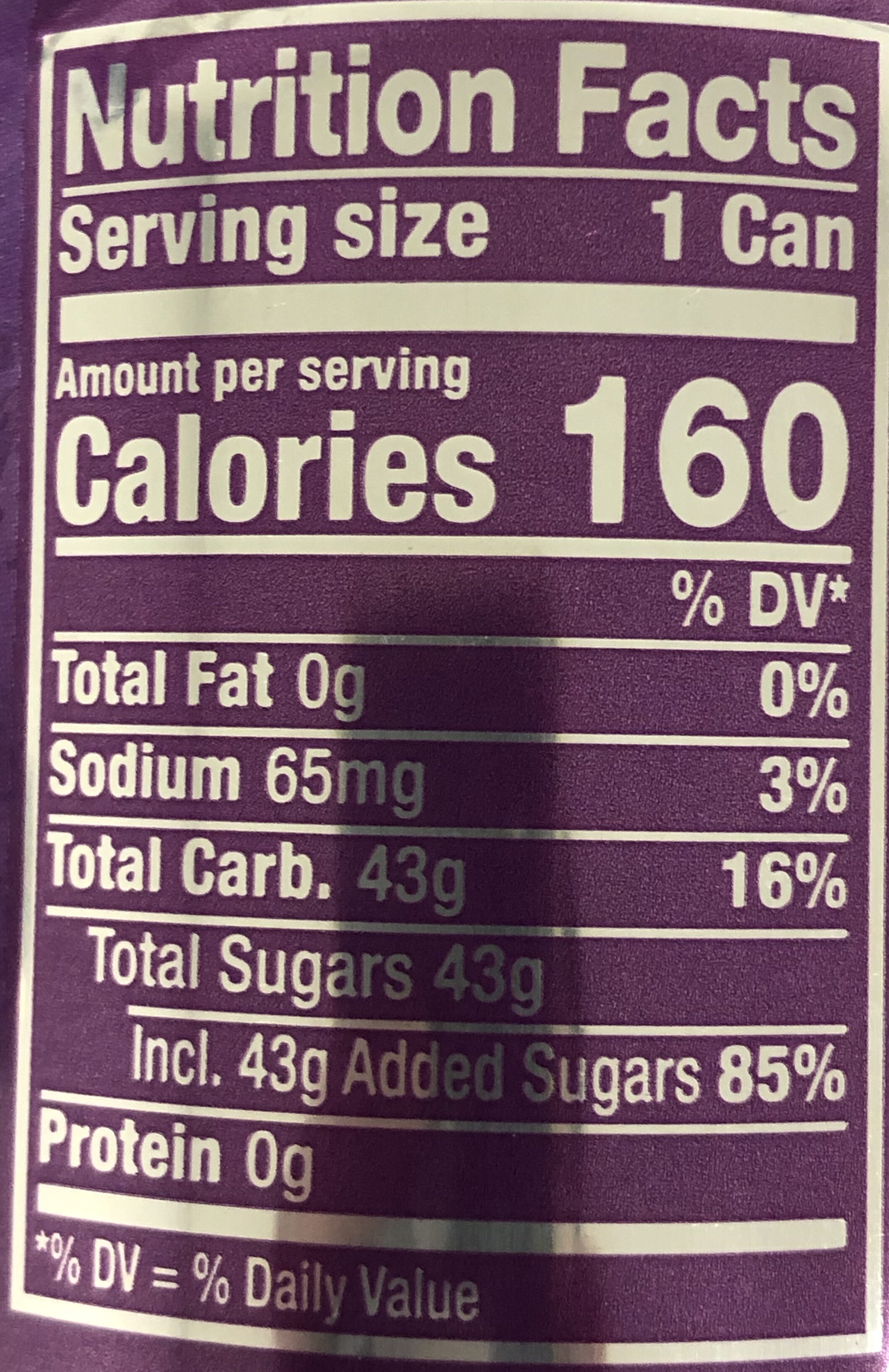 Crush Grape - Nutrition facts