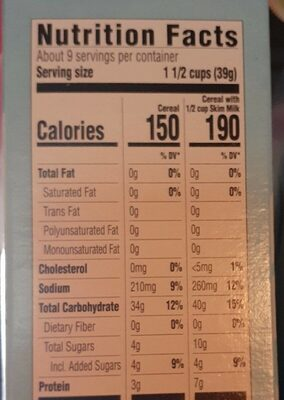 Crisp Rice Cereal - Nutrition facts