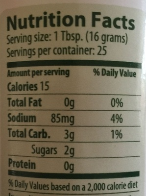 Portland Ketchup Company - Nutrition facts