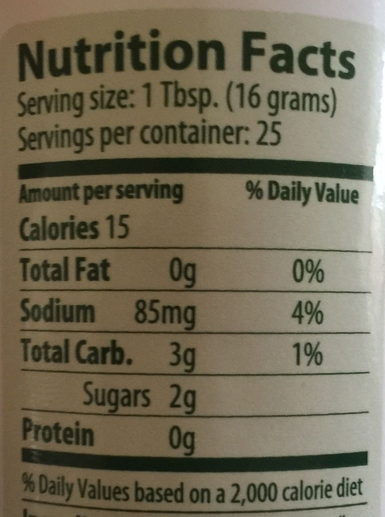 Portland Ketchup Company - Nutrition facts