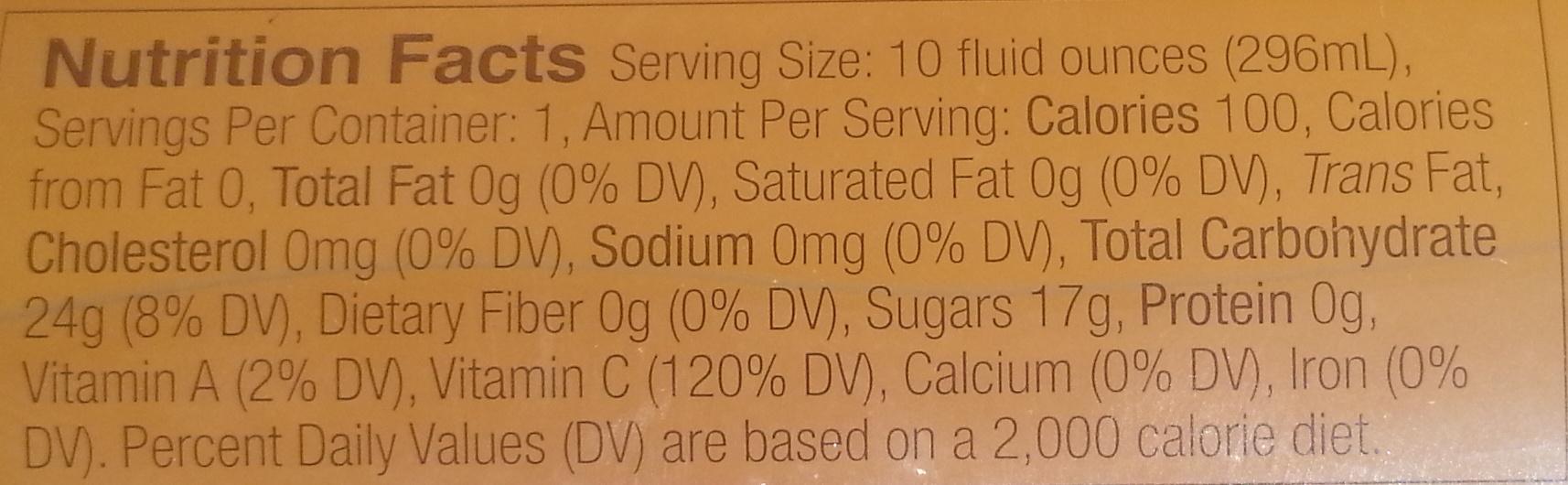 Organic Wild poppy Peach vanilla - Nutrition facts