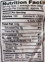 100% Whole Wheat bread - Nutrition facts - en