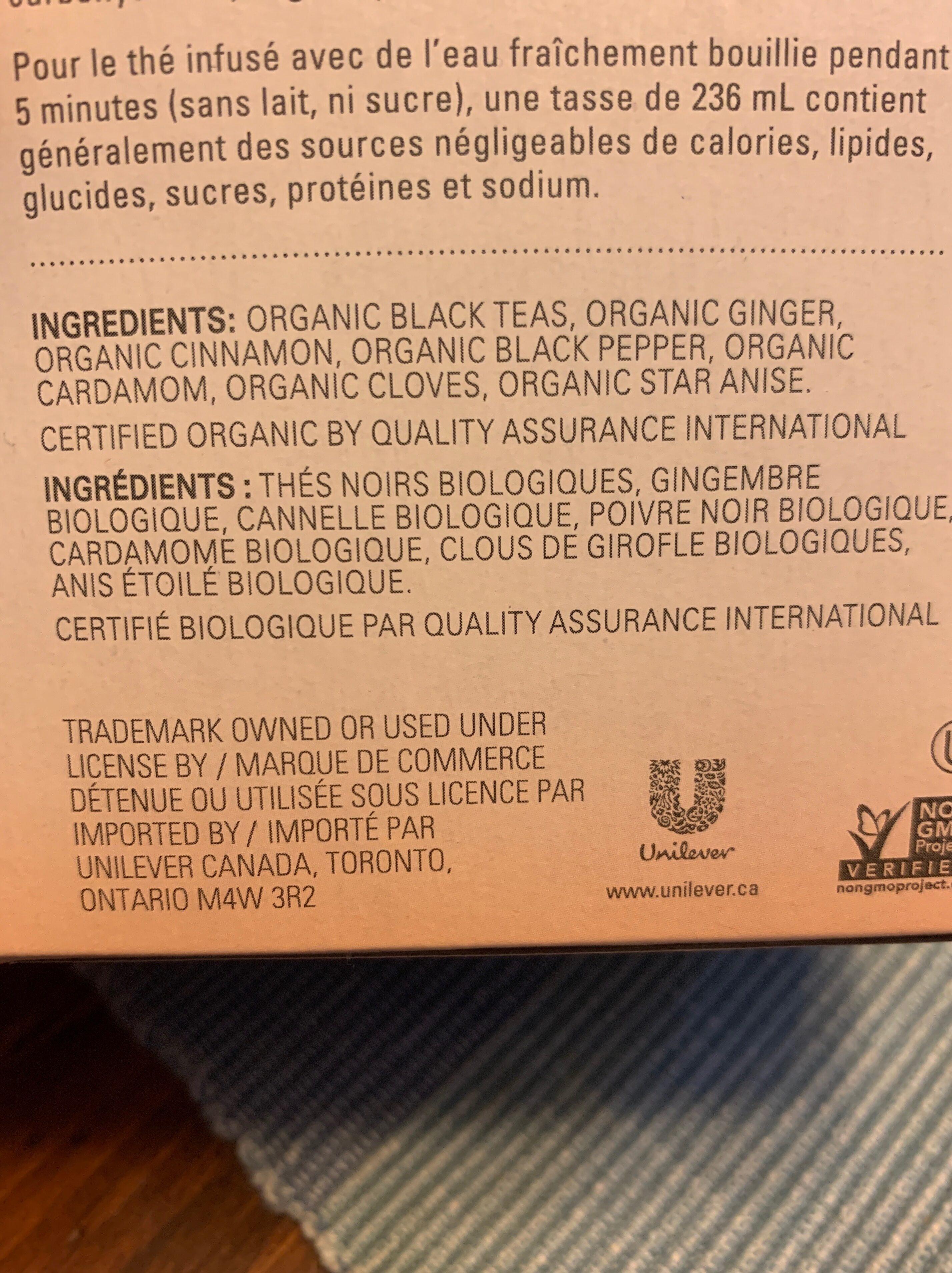 Organic chai - Ingredients - fr