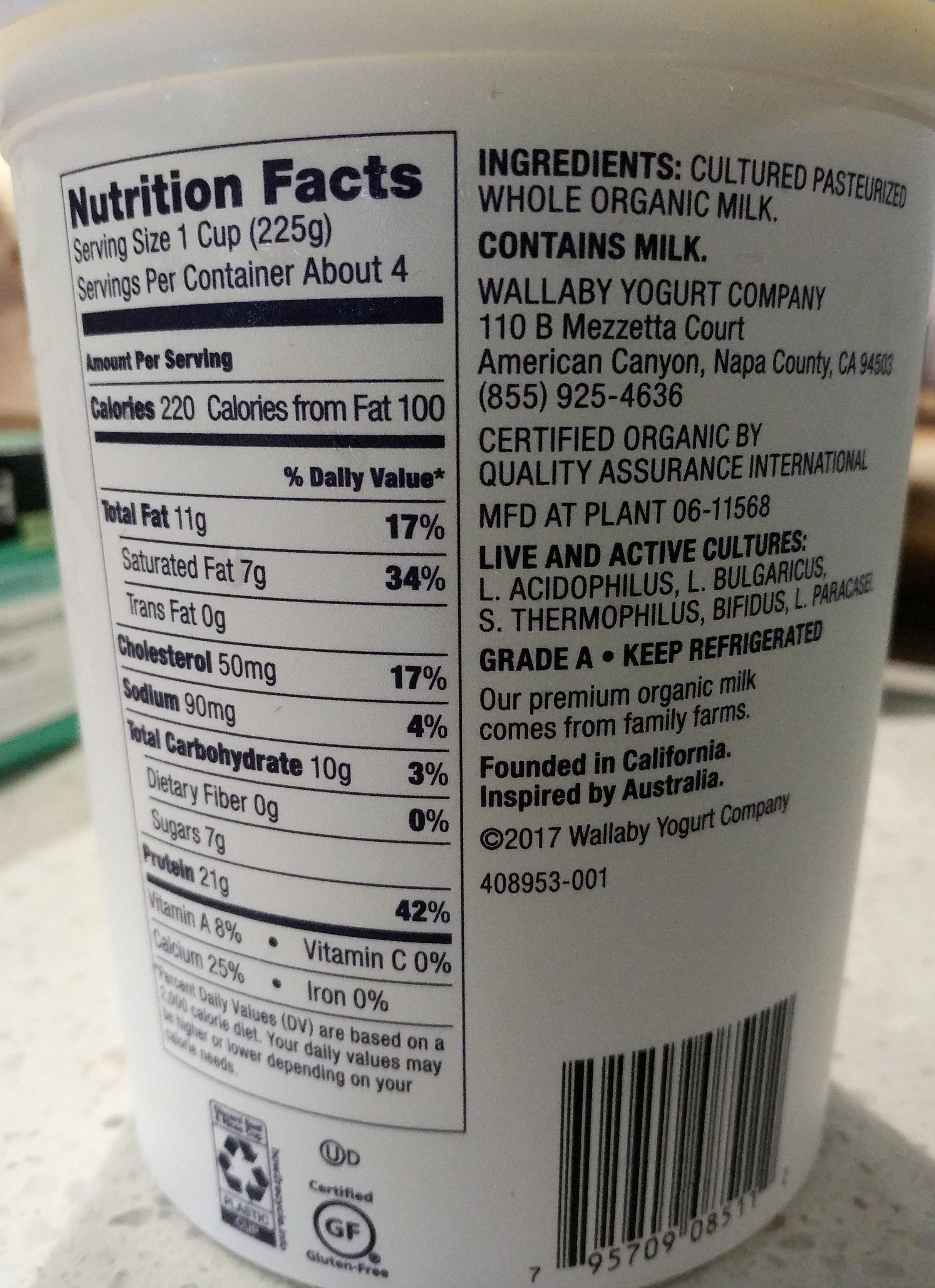 Organic Greek Yogurt - Ingredients