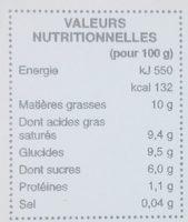 Dessert vegetal myrtilles - Informations nutritionnelles - fr