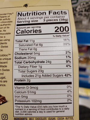 Frey Swiss Chocolate Chocobloc milk minis - Nutrition facts - en