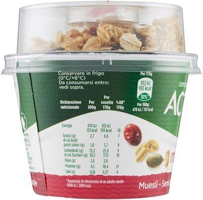 Activia Mix&go Muesli - Semi di zucca e Mirtilli rossi - Informazioni nutrizionali