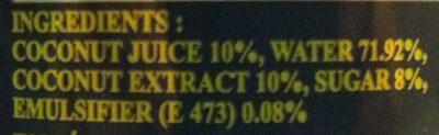 Coconut drink - Ingredients