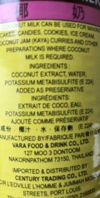 Tep Tip Coconut Milk - Ingrédients - fr
