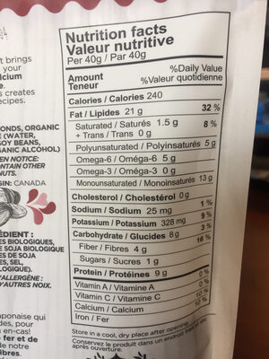 Amandes tamari - Informations nutritionnelles - fr