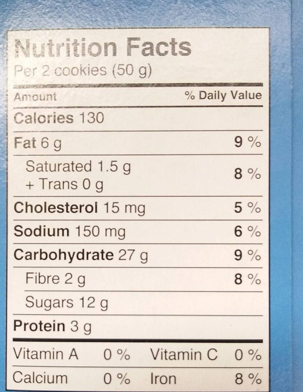 Chocolate Chip Soft Baked Cookies - Voedingswaarden - en