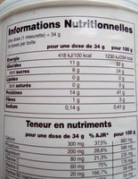 Spirutein Vanille 32 Doses - 554 G - Nature's Plus - Informations nutritionnelles