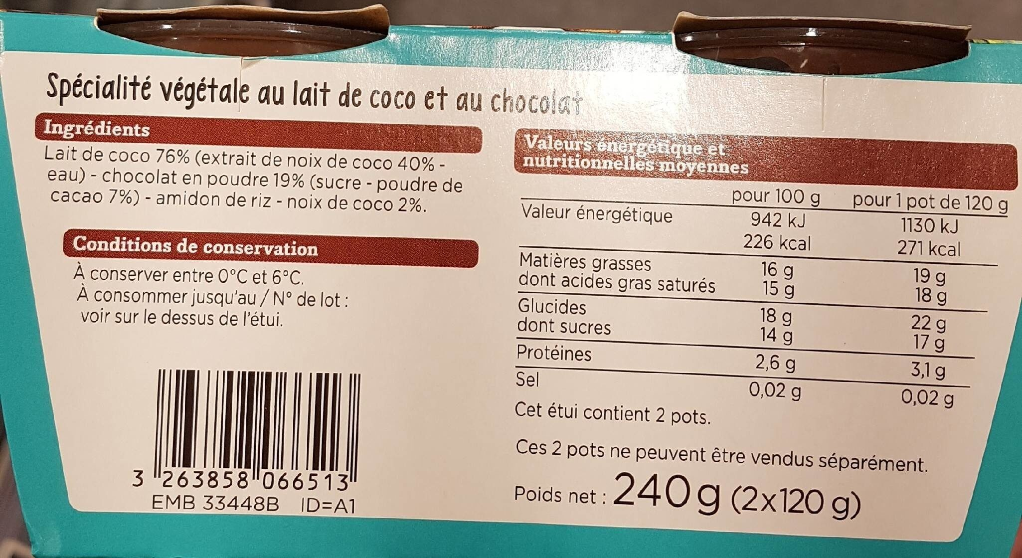 Coco chocolat - Informations nutritionnelles