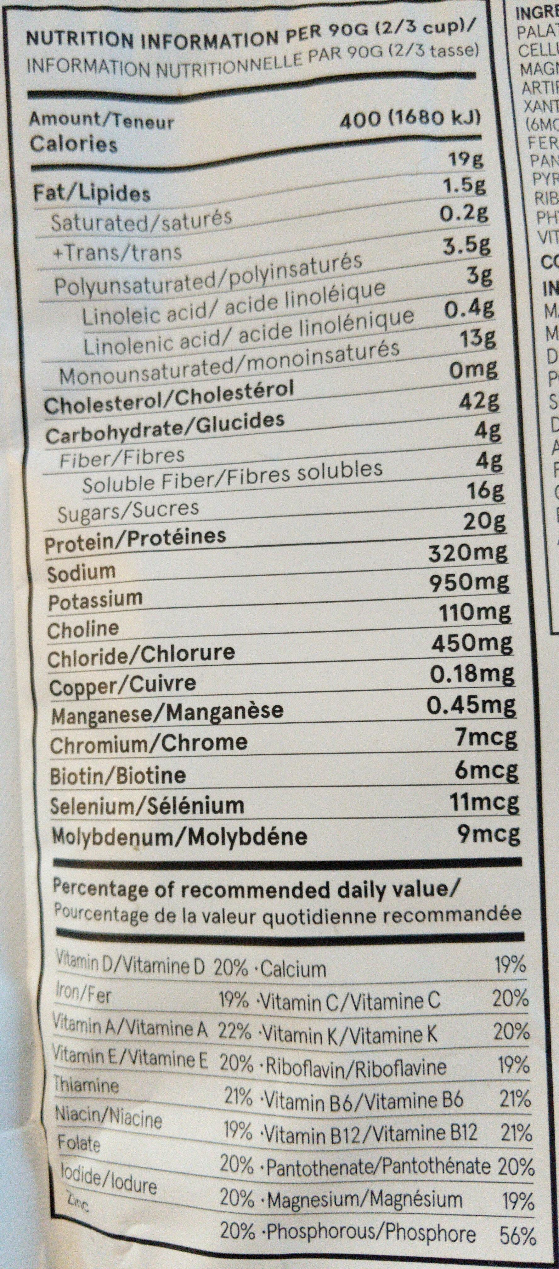 Soylent Original - Informations nutritionnelles - en