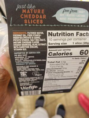 Mature cheddar slices - Ingrédients - en